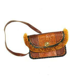 Hand tooled leather brown crossbody bag w/ fringe